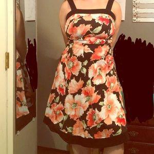 Vintage floral mid length dress, 1 1/2 inch straps